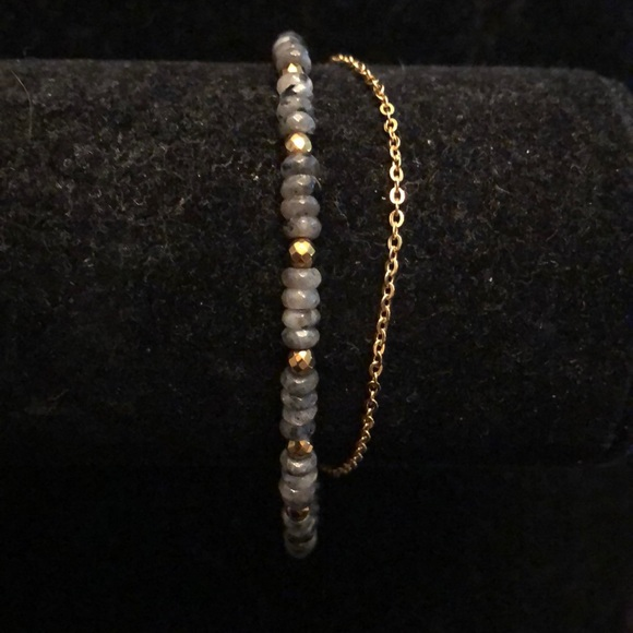 Merx Jewelry - Merx Grey Bead/ Gold Chain Bracelet